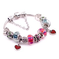 Wholesale Europen Beads - 2016 Europen Style Charm Bead Bracelet 18K White Plated Silver Bangle Jewelry Romantic Valentine's Day Birthday Gift Lightning Delivery