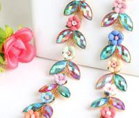 Wholesale Rhinestone Yards - 1 Yard AB Sparkle Rhinestones Crystal Gold Leaf Flower Ceramic Plated Ribbon Chain Trim