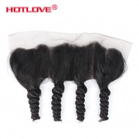 Wholesale peruvian human hair loose curl for sale - Group buy HOTLOVE Human Hair Brazilian Malaysian Peruvian Indian X Lace Frontal Pre Plucked Baby Hair Loose Curl Wave Closure Ear to Ear