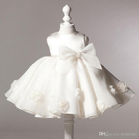 Wholesale Girls Dresses For Events - NEW baby girl baptism dress bow kids baby 1 year birthday dress for girls toddler princess tutu dress for special events