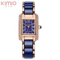 Wholesale Kimio Watches - Kimio Rectangle Dail Watch White Ceramic Wrist Watches Quartz Women Casual Watch Full of Crystal