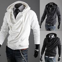 Wholesale Double Collar Hoodie Men - New Fashion Korean Casual Men's Hoodie Hooded Heaps Collar Pure Color Cardigan Designer Slim Fit Men Hoodies Free Shipping Sweatshirts