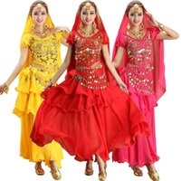 4pcs Imposta India Egitto pancia costume di danza Bollywood costumi indiani Dress Bellydance Dress Lady Danza del ventre