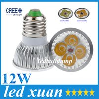 Wholesale Led E27 Cheap - High power GU10 MR16 E27 E14 G5.3 12W CREE 4x3W Dimmable Led Light Lamp Spotlight led bulb 10pcs, cheap!! AC 85-265V