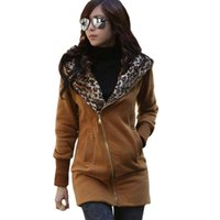 Wholesale korean fashion cardigan - Wholesale- Autumn winter coat women new Korean leisure leopard hooded thick sweater coats large size cardigan jacket long vestidos LBD66061