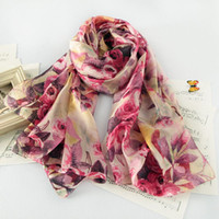 Wholesale Salomon Brand - LM1031Winter Fashion Women's Scarf Hot Sale Mulberry Flower print Silk Scarves Shawl Female Long Chiffon salomon brand Scarf