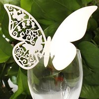 Wholesale Wedding Table Place Cards - Wholesale-Stylish 200pc Butterfly Wedding Table Paper Place Card Romantic Escort Name Card Wine Glass Card Wedding Decoration accessory