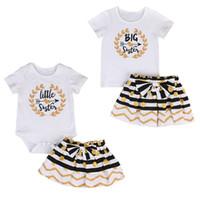 kardeş giysileri toptan satış-Bebek Giysileri Bebek Giyim Çocuk Kız Giysileri Set Büyük Kardeş Tişört Etek Küçük Kardeş Romper Mini Etek Eşleştirme Kıyafet Seti Butik