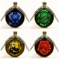 Wholesale Harry Potter Crests - Harry Potter Hogwarts Slytherin Crest Necklaces 8 Styles Harry Potter Pendant Necklace Jewelry Glass Cabochon Gift for women and men N279