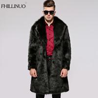 Wholesale Men Full Length Fur Coats - Wholesale- FHILLINUO Men Fur Coat Winter 2017 Plus Size Faux Fur Coat Men Parka Jackets Full Length Leather Overcoats With Collar Fur coats