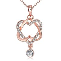 Wholesale Sell Girlfriend - Hot selling fashion jewelry gold plated CZ diamonds two heart lady necklace Valentine's gift for girlfriend 1pcs style free shipping
