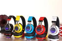 Wholesale Branded Usb Cards - Hot Sale Usb Wireless Headphone Earphone Hot Headset Bluetooth Tm-021 Led Light Card With Radio Wireless Colorful Fashion 01