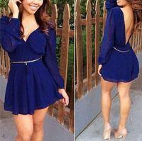 Wholesale Low V Neck Jumpsuits - 2015 elegant evening Dress with Belt jumpsuit dresses women's Blue Casual dress deep V backless Chiffon low cut one piece dress S431L