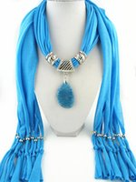 Wholesale cotton knit scarves - Nature Stone Pendant Jewelry Necklace Scarves Momens Sexy Scarf with beautiful pendants mixed colors free shipping