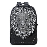 Wholesale 3d Vivid Bag - 2015 3D Lion Studded College Backpack for Men and women Unisex Vivid Animal Print Shoulder Bag PU leather rucksack00972