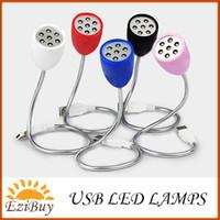 Wholesale China Led Lights Retail - 7leds USB led lamp light 7 leds DC 5V white light 0.5W 5 color cases with retail package
