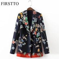 FIRSTTO Vintage Ethnic Floral Print Blazers Double Breasted Long Sleeve Jacket Fashion Women Coat Верхняя одежда Верхняя часть SY17-05-65