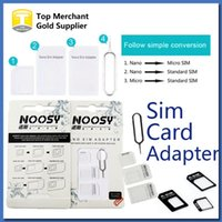 Wholesale S3 Sim Card Tray - 4 In 1 Noosy Nano Micro SIM Adapter Eject Pin For Iphone 5 For Iphone 4 4S 6 Samsung S4 S3 SIM Card Retail Box
