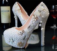 plataformas de diamante perla al por mayor-Nueva boda zapatos de plataforma de tacón ultra alto talones zapatos de novia de perlas de cristal estético Diamond Lady Shoes Wedding Party