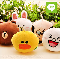 Wholesale Line Dolls For Free - Fancy Mini Plush Pendant Doll Line App Expression Stuffed Toy Haning Decoration For Bag Key Free shipping