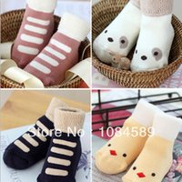 Wholesale Socks Antislip Baby - 2015 NEW Fashion Baby Lovely Kids Ankle Socks Thick Warm Crew Socks Cotton Antislip Cartoon 0-4YFree Drop Shipping
