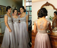 Wholesale Purple Lace Bridesmaid Dresses - Hot Zuhair Murad V-Neck A-Line Cap Sleeve Chiffon Lace Beaded Coral Silver Lavender Purple Bridesmaid Dresses Cheap In Stock Evening Dresses