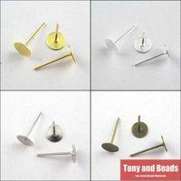 Wholesale Earring Heads - Wholesale-(200Pcs=1Lot!) Jewelry Earring Finding Flat Round Blank Peg&Post Ear Studs Head Pins Earring Gold,Silver,Bronze,Dull Silver