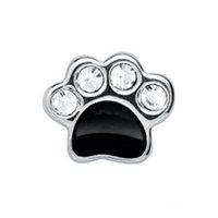 Wholesale Paw Floating Charm - 30pcs lot free shipping good quality black rhinestone bear paw floating charms for glass living memory lockets