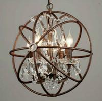 Wholesale industrial vintage chandelier for sale - Group buy RH industrial Lighting Restoration Hardware Vintage Crystal Chandelier Pendant Lamp FOUCAULT IRON ORB CHANDELIER RUSTIC IRON Gyro Loft light