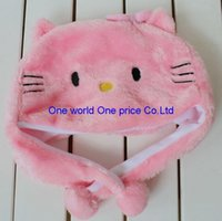 Wholesale Plush Caps - FEDEX Free shipping ! hello kitty plush hat cute stuffed Animal Plush hat cap pink and white colors 300PCS LOT 1002#02