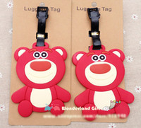 Wholesale Toy Story Strawberry Bear - 2pcs Strawberry bear lage tag,BAG TAG School bag key chain ring kids Christmas gift girls toy movie anime toy story bad bear
