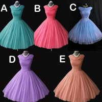 Wholesale Light Purple Tea Length Bridesmaid Dresses - 1950's 50s Vintage Bridesmaid Dresses Real Image Short Prom Dresses Party Gowns Homecoming Dresses vestidos para festa Free Shipping