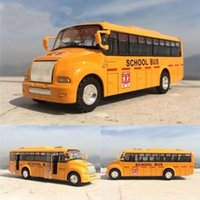 Wholesale Diecast Bus Toy - 13.5x4CM Can Open Door Pull Back Wheel Force Flashing School Bus Alloy Toy Diecast Car Model Toy Gift For Kids