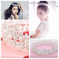 Wholesale Pageant Tiaras Sets - Bling Bling Real Images Bridal Headpieces Tiaras Pageant Crowns Crytal Pearls Hepburn Bridal Set Sparkly High Quality Bridal Hair Accessory