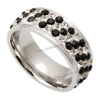 Wholesale Wholesale Swarovski Rings - Rings 30pcs Titanium Steel Ring Wholesale lots fashion jewelry 3Row CZ Inlay Wedding Swarovski Anniversary Gift Size 7-11