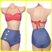 2015 Wome Sexy High Taille Bikinis Set Bandeau Push Up Vintage Bademode Retro Badeanzug Red Dot Top + Hohe Taille Bottom