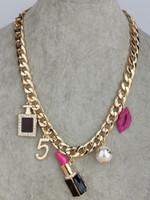 Wholesale Neon Fashion Necklaces - Wholesale-2015 Fashion Neon Acrylic gold Metal Chain Necklace &Pendant For Women lips lipstick perfume bottle pearl Statement Necklace