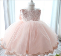 Wholesale Dress Baby Lace Retail - Infant Baby Christening Dresses For 2015 %100 Actual Photo Lace Toddler Girls Party Princess Dress Full Month And Year Clothes Retail K366