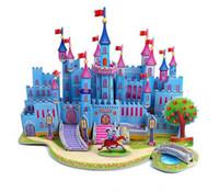 Wholesale 3d Puzzle Castle Building Toy - Wholesale-Toy Holiday Sale The new children's educational 3 D puzzles building Paper model - blue castle