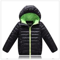Wholesale Down Feather Kids Coat - 2016 Black Children's Outwear Boys Down Jacket Solid Hooded Coat Kids Parkas Kids Cotton-padded jacket