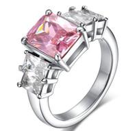 anéis de diamantes rosa simulado venda por atacado-ZHF Jóias 2 ct anel de diamante simulado Micro anel com pedras cor de rosa Moda conjunto trado anel de mulheres
