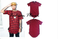 camisas tyga de gran tamaño al por mayor-Tyga L K Hip Hop Gold Side Cremallera Oversized Plaid T shirt Hombres Casual Plaid Tartan Tee Shirt
