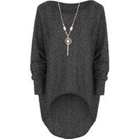 Wholesale Women Stretch Batwing Blouse - wholesale-Spring 2016 New Arrival Fashion Women Blouses Loose Stretch Dip Hem Batwing Long Sleeve Tops Shirt Blouse Plus Size Blusas