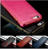 Wholesale Iphone 5s Leather Bumper - Luxury Top Layer Real Leather Back 2 in 1 Metal Bumper Case For Iphone 6 6s plus 5 5s 5SE