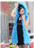 Wholesale Sell Rabbit Fur Coat - Wholesale-Free Shipping Colors Hot Selling Fashion 100% real Rabbit Fur Vest Coat Hooded Women's Warm Fluffy Outwear waistcoat CW2877