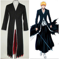 Wholesale White Ichigo - 2 Colors Amime Bleach Costume-Bleach Kurosaki Ichigo Bankai Cosplay Unisex Cloak Long Black White Cape for Party