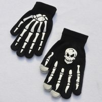 Wholesale glue gloves resale online - New Adult skeletal hand printed bone glue glove Halloween costumes dress gloves SNY10131