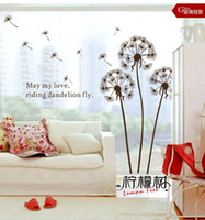 "Wholesale Dandelions Sticker - ""Dandelion Flying In The Wind""Removable Wall Decor Stickers Decals House Wall Art Mural paster"