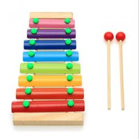 Wholesale Infant Castanets - Rainbow Xylophone Baby Kids Musical Instrument Toy 8 Scales Wooden Knock Piano Glockenspiel Fun Educational Toys for Toddlers
