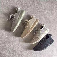 botas de tortuga kanye west al por mayor-Venta caliente pirata negro Kanye West botas Oxford Tan Moonrock Turtle Dove Boots hombres nuevos zapatos para correr con caja